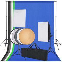 vidaXL Fotostudijos rinkinys: 5 spalvoti fonai ir 2 šviesdėžės