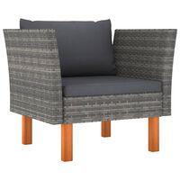 vidaXL Sodo sofa, poliratanas ir eukalipto medienos masyvas