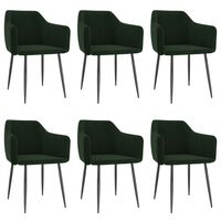 VidaXL Valgomojo kėdės, 6vnt., tamsiai žalios, aksomas (3x323127)