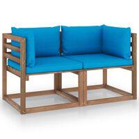 vidaXL Dvivietė sodo sofa iš palečių su mėlynomis pagalvėlėmis, eglė