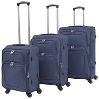 vidaXL Minkštų lagaminų su ratukais komplektas, 3vnt., tamsiai mėlyna