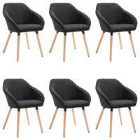 vidaXL Valgomojo kėdės, 6 vnt., juodos spalvos, audinys (3x283465)