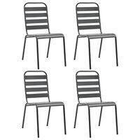 vidaXL Lauko kėdės, 4vnt., pilkos, plienas, lentjuosčių dizaino