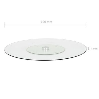 vidaXL Pasukamas serviravimo padėklas, besp., 60cm, grūdintas stiklas