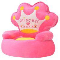 vidaXL Pliušinė vaikiška kėdė Princess, rožinė