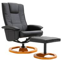 vidaXL TV krėslas su pakoja, juodos sp., dirbt. oda, pasukamas