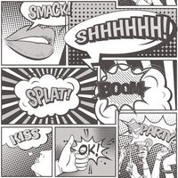 Urban Friends & Coffee Tapetai, juodos ir baltos spalvos, komiksai