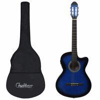 vidaXL Gitaros rinkinys su ekvalaizeriu, 12 dalių, mėlynas, 6 stygos