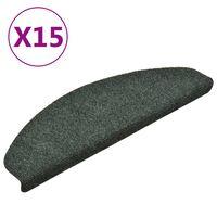 vidaXL Lipnūs laiptų kilimėliai, 15vnt., žalios spalvos, 65x21x4cm