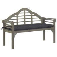 vidaXL Didelis sodo suoliukas su pagalvėle, pilkas, 135cm, akacija