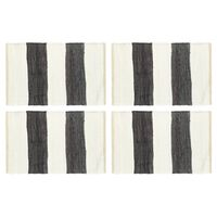 vidaXL Stalo kilimėliai, 4vnt., antrac.+baltų dryžių, 30x45cm, chindi