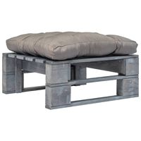vidaXL Sodo otomanė iš paletės su pilka pagalve, pilka, mediena