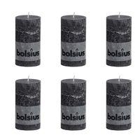 Bolsius Kaimiško stiliaus žvakės, 6vnt., antracito, forminės, 130x68mm