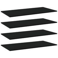 vidaXL Knygų lentynos plokštės, 4vnt., juodos, 80x20x1,5cm, MDP