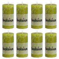 Bolsius Žvakės, 8vnt., samanų žalios, 100x50mm, cilindro formos