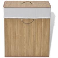 vidaXL Skalbinių krepšys, natūrali spalva, bambukas, kvadratinis
