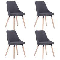 vidaXL Valgomojo kėdės, 4 vnt., tamsiai pilkos, audinys (2x283626)