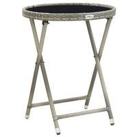 vidaXL Arbatos staliukas, pilkas, 60cm, poliratanas ir grūdintas stiklas