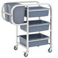 vidaXL Virtuvės vežimėlis su plastikinėmis dėžėmis, 87x43,5x92cm