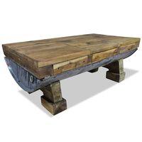 vidaXL Kavos staliukas, masyvi perdirbta mediena, 90x50x35cm