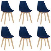 vidaXL Valgomojo kėdės, 6vnt., mėlynos, aksomas (289150+289151)