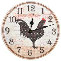 vidaXL Sieninis laikrodis, įvairiaspalvis, 30cm, MDF, su višta