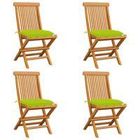 vidaXL Sodo kėdės su žaliomis pagalvėlėmis, 4vnt., tikmedžio masyvas