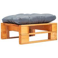 vidaXL Sodo otomanė iš paletės su pilka pagalve, medaus ruda, mediena