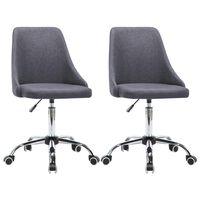 vidaXL Valgomojo kėdės, 2 vnt., tamsiai pilkos, audinys