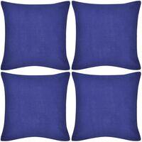 4 Mėlyni Pagalvėlių Užvalkalai, Medvilnė, 80 x 80 cm