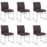 vidaXL Valgomojo kėdės, 6vnt., rudos spalvos, dirbtinė oda (3x282946)