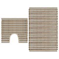 vidaXL Vonios kambario kilimėlių rinkinys, natūralus/baltas, džiutas