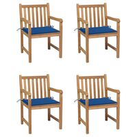 vidaXL Sodo kėdės su mėlynomis pagalvėlėmis, 4vnt., tikmedžio masyvas