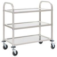 vidaXL Virtuvės vežimėlis, 87x45x83,5cm, nerūd. plienas, triaukštis