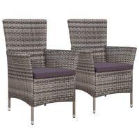 vidaXL Sodo kėdės su pagalvėlėmis, 2 vnt., poliratanas, pilkos