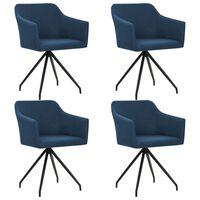 vidaXL Besisukančios valgomojo kėdės, 4 vnt., mėlynos, audinys