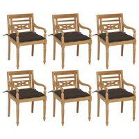 vidaXL Batavia kėdės su pagalvėlėmis, 6vnt., tikmedžio masyvas