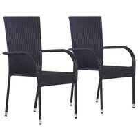 vidaXL Sudedamos lauko kėdės, 2 vnt., poliratanas, juodos