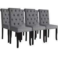 vidaXL Valgomojo kėdės, 6 vnt., tamsiai pilkos, audinys
