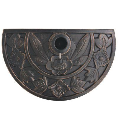 vidaXL Skėčio stovas iš dervos, pusapvalis, bronzinis, 9 kg