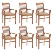vidaXL Valgomojo kėdės su smėlio spalvos pagalvėlėmis, 6vnt., tikmedis