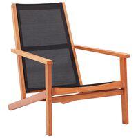 vidaXL Sodo poilsio kėdė, juoda, eukalipto masyvas ir tekstilenas