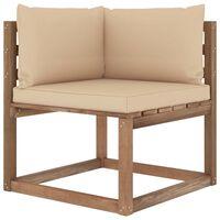 vidaXL Kampinė sodo sofa iš palečių su smėlio spalvos pagalvėlėmis