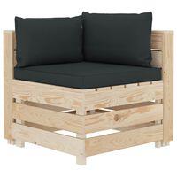 vidaXL Kampinė sodo sofa iš palečių su antracito pagalvėmis, mediena