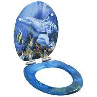 vidaXL Klozeto sėdynė su minkšto uždar. dang., MDF, su delfinais