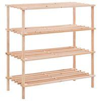 vidaXL Batų lentyna, eglės medienos masyvas, 4 aukštų