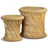 vidaXL Taburetės, 2 vnt., bambukas ir džiutas