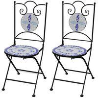 vidaXL Sulankstomos bistro kėdės, 2 vnt., keramika, mėlyna ir balta