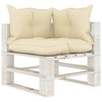 vidaXL Kampinė sodo sofa iš palečių su kreminėmis pagalvėmis, mediena