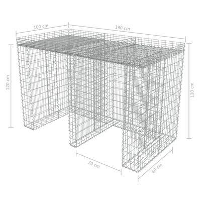 vidaXL Gabiono siena konteineriui, galvan. plienas, 190x100x130cm